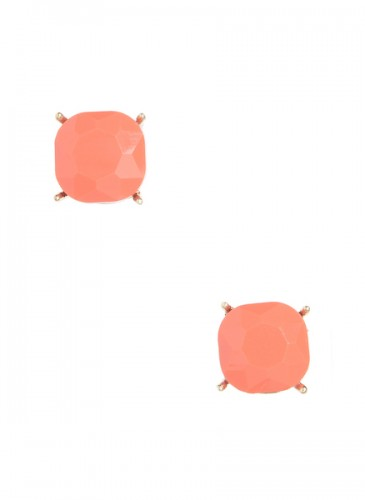 Chic Crystal Stud Earring- Coral