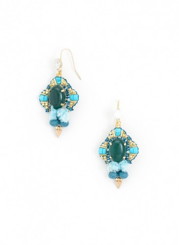 e1311-grn Star Studded Earrings