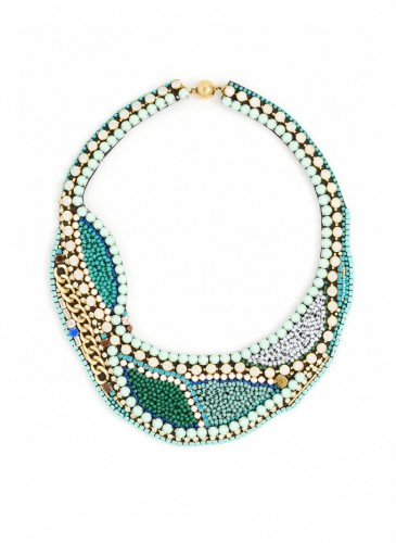 n1754-mint Star Studded Bib Necklace