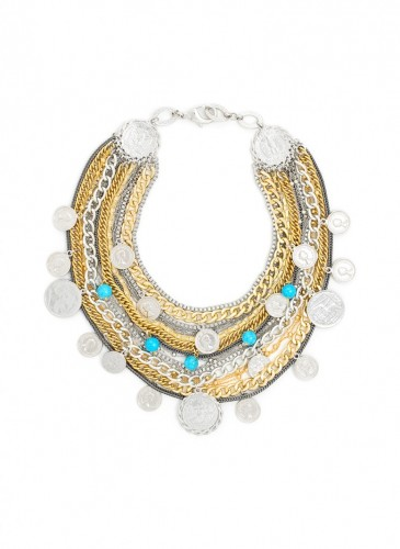 n1763-gdrh Dancing Coin Bib Necklace